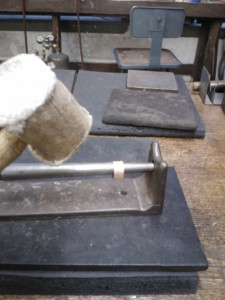 Uisng the leather mallet